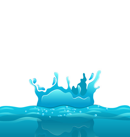 disperse: Illustration splash and crown on rippled water surface - vector