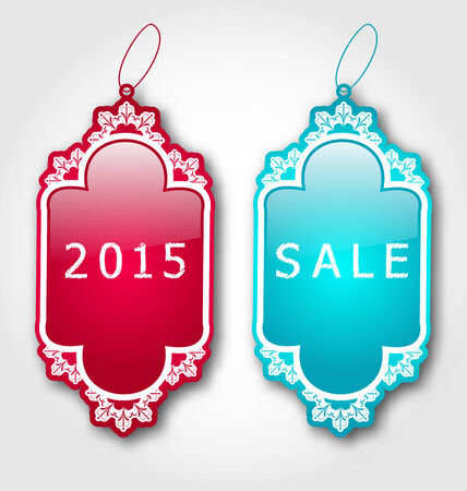 Illustration Christmas colorful discount labels with shadows - vector Vector