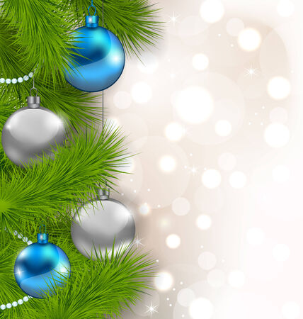 Illustration Christmas glowing background with fir branches and glass balls - vector Vector