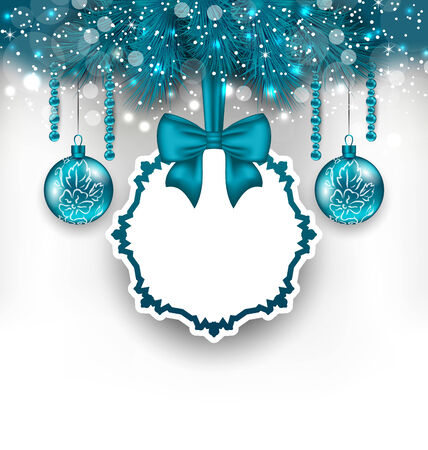 Illustration Christmas gift card with glass balls - vector Vector