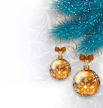 Illustration Christmas background with glass balls and fir branches - vector Vector