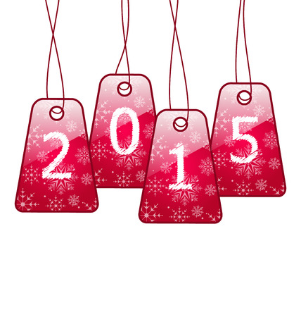 Illustration happy new year, shiny labels isolated on white background - vector Vector