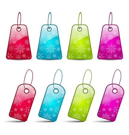 Illustration set multicolored tags isolated on white background - vector Vector