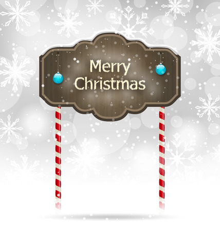 Illustration snow covered wooden sign, Merry Christmas background - vector Vector