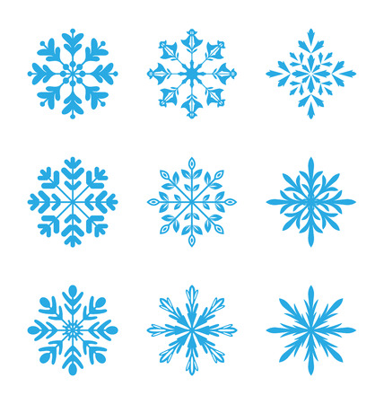 Illustration collection of variation snowflakes isolated on white background - vector Vector