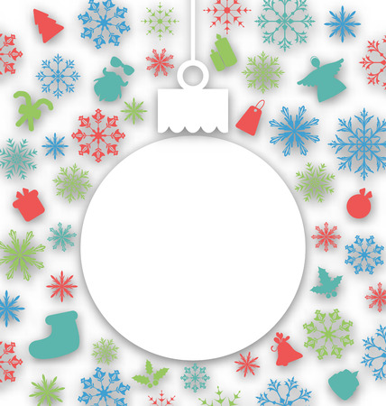 Illustration Christmas paper ball on texture with traditional elements - vector Vector