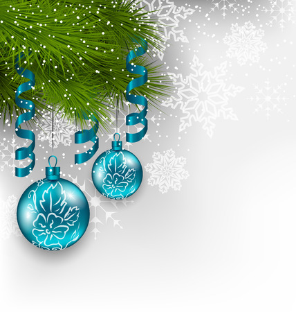 Illustration Christmas background with hanging glass balls and adornment - vector Vector