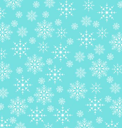 behang blauw: Illustratie Kerst blauw behang, sneeuwvlokken textuur - vector