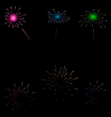 Illustration set colorful fireworks on dark background - vector Vector