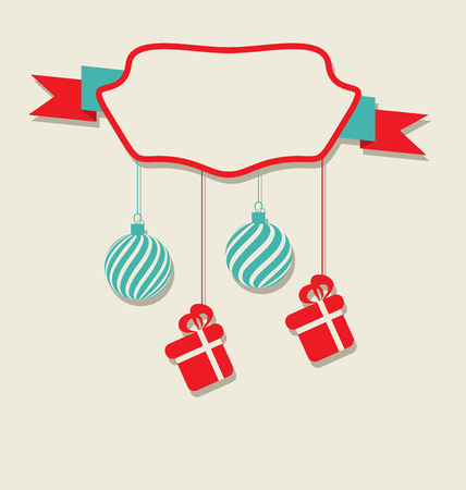 Illustration Christmas celebration card with hanging balls and gifts  Vector