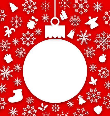 Illustration Christmas paper hanging ball as a postcard - vector Vector