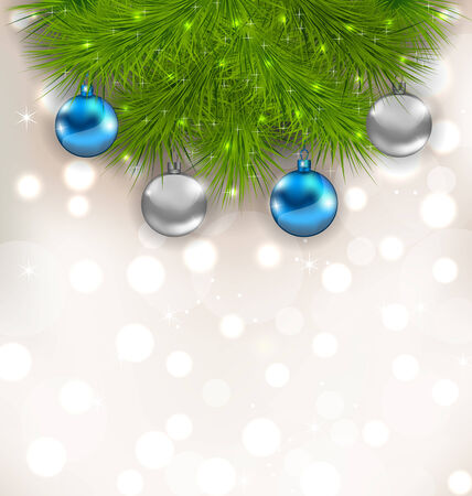 ilex: Illustration Christmas composition with fir branches and glass balls - vector