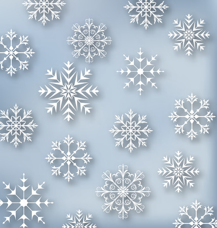 behang blauw: Illustratie Kerst blauw behang met set sneeuwvlokken - vector