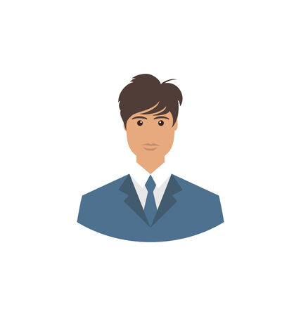 employe: Front face portrait avatar office employee in business costume  - vector