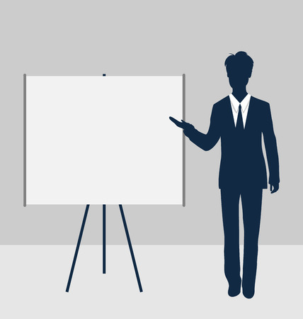 Trainer stand near whiteboard presentation demo and speak project brief - vector Vector