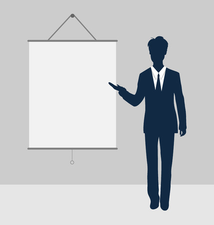 Manager stand near blank board presentation showing speak project brief template - vector Vector