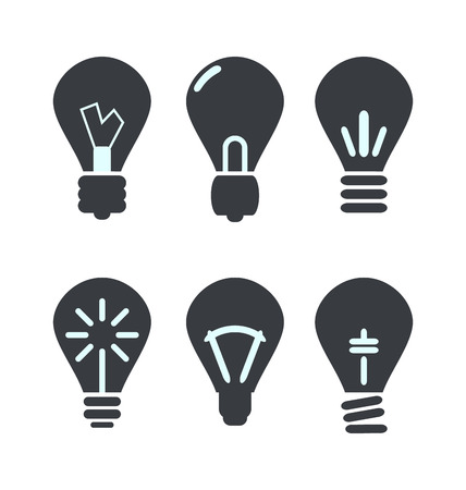 Icon set process of generating ideas to solve problems, birth of the brilliant ideas - vector