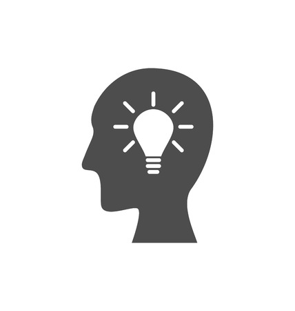 Icon process of generating ideas to solve problems, birth of the brilliant ideas - vector