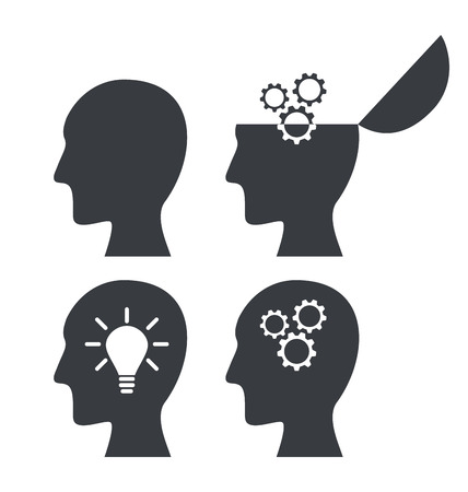 derivation: Icon process of generating ideas to solve problems, birth of the brilliant ideas - vector