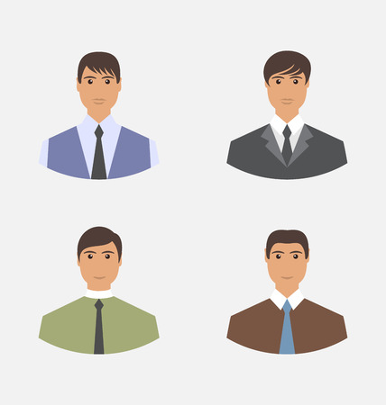 employe: Avatar set front portrait office employee businessman for web design  - vector