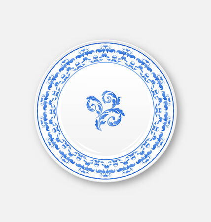 Illustration white plate with russian national ornament in gzhel style, empty ceramic plate - vector Vector
