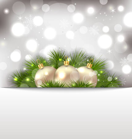 Illustration Merry Christmas postcard with fir branches and golden balls - vector Vector