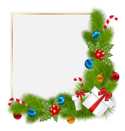 Illustration decorative border from a traditional Christmas elements - vector Vector