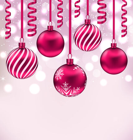 Illustration Christmas shimmering background with balls and streamer - vector Vector