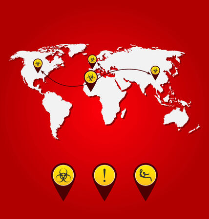 pandemia: Illustration virus Ebola outbreak, world map of spreading with bio hazard signs - vector