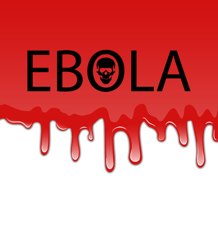 pandemia: Illustration bloody background with Ebola virus