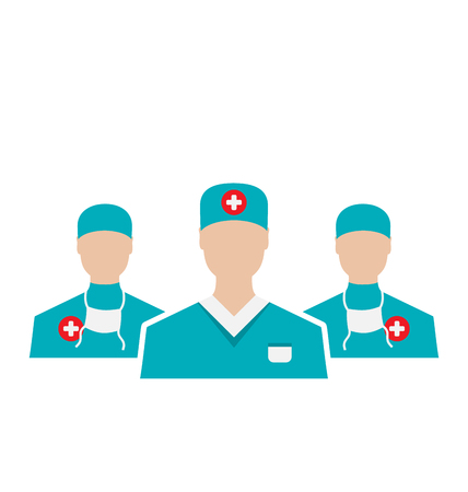 Illustration icons set of medical employees in modern flat design style, isolated on white background - vector Vector