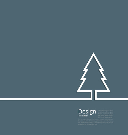 cleaness: Laconic design of xmas tree fir on cleaness line flat template corparate style with space for text - vector