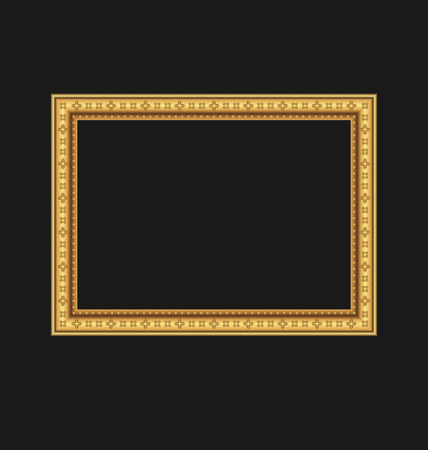 Illustration vintage picture frame isolated on black background - vector Vector