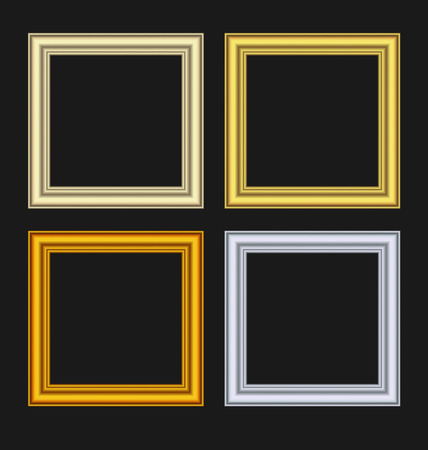 Illustration set picture frames isolated on black background - vector Vector