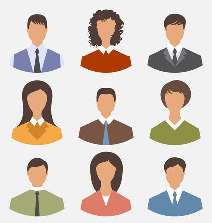 Illustration avatar set front portrait office employee business people for web design - vector