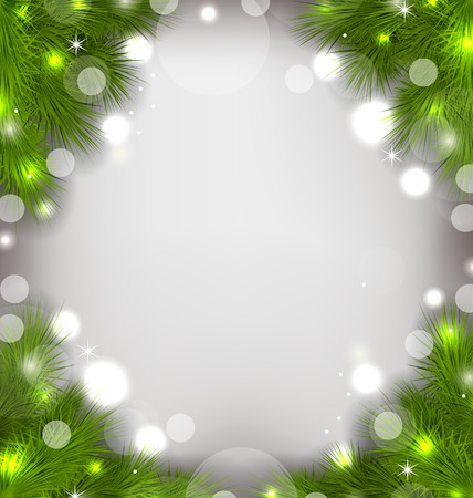 Illustration Christmas decorative border from fir twigs, glowing background - vector Vector