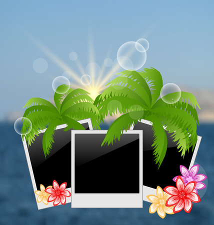 oceanside: Illustration set photo frame with palms, flowers, on blurred seascape background - vector