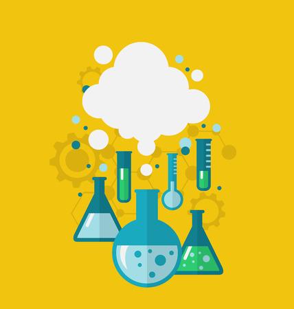 化学の実験化学溶液との反応を用いた実験用ガラス器具で行われている様々 なテストを示す図テンプレート。近代的なフラット スタイル - ベクトル