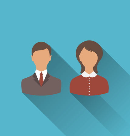 employe: Illustration male and female user avatars. Flat icons with long shadow - vector