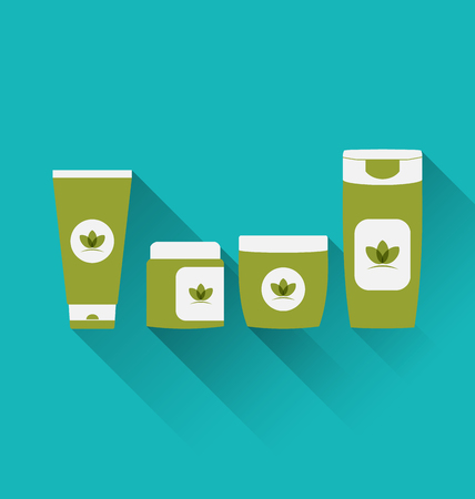 moisturizing: Illustration flat icons of cosmetics containers with long shadow - vector Illustration