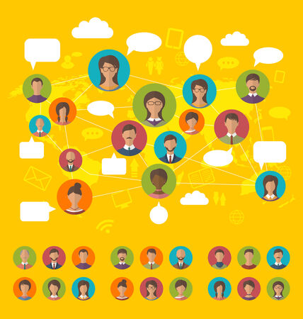 community cloud: Illustration social network concept on world map with people icons avatars, flat design - vector Illustration