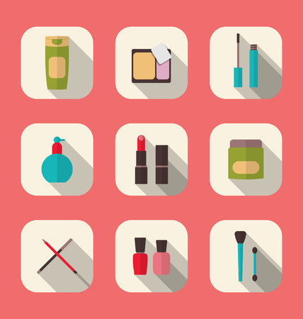 Illustration set beauty and makeup icons with long shadow, modern flat design - vector Vector