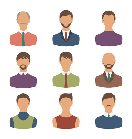 Illustration avatars set front portrait of males isolated on white background - vector Vector