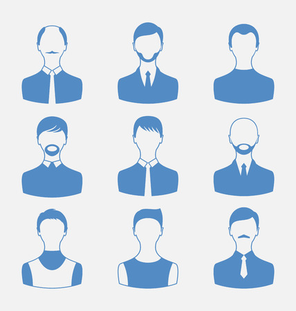 employe: Illustration avatars set front portrait of males isolated on white background - vector