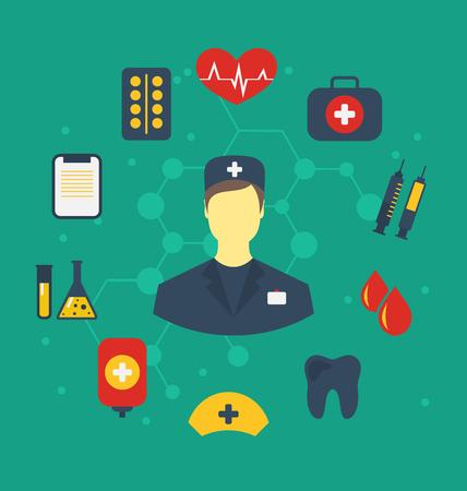 Illustration set trendy flat medical icons - vector Vector