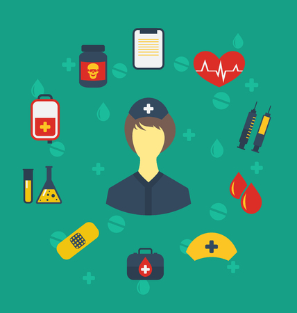 Illustration nurse with medical icons for web design, modern flat style - vector Vector