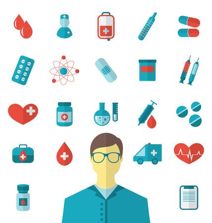 Illustratie collectie trendy vlakke medische pictogrammen geïsoleerd op een witte achtergrond - vector