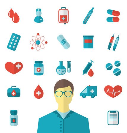 Illustration collection trendy flat medical icons isolated on white background - vector