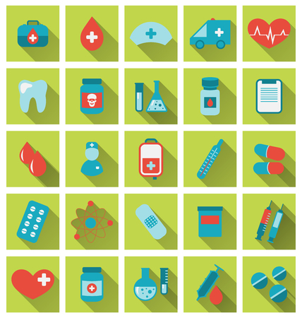 Illustration collection trendy flat medical icons with long shadow - vector Vector