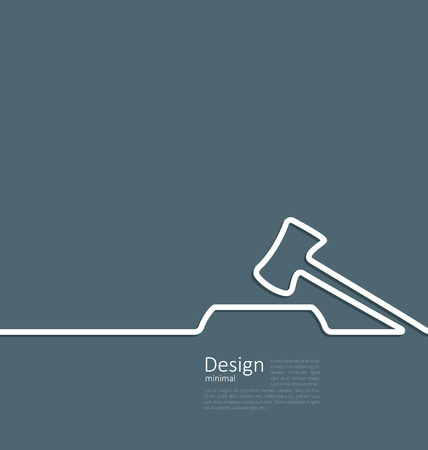 attorney: Illustration icon of hammer judge, template corporate style logo - vector